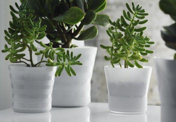 Holmegaard Flower Pot - Doniczka Biała z Paskami 10,3 cm