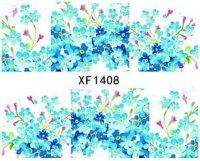 Naklejki wodne na pazokcie szerokie kwiat niebieski