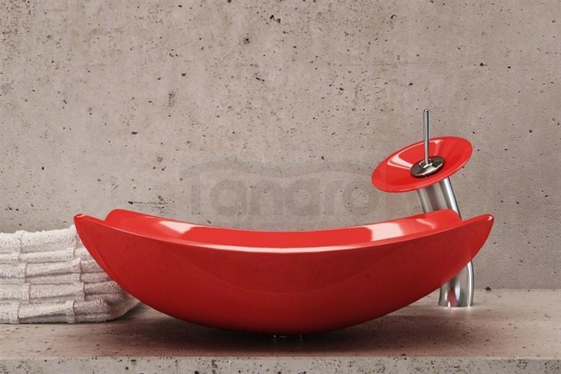 Czerwone umywalki
