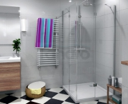 DURASAN - Kabina prysznicowa kwadratowa LIVORNO DUO SQUARE podwójne drzwi uchylne z powłoką NANO GLASS