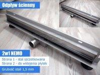 BWTECH - Odpływ liniowy ŚCIENNY NEMO niski z metalowym syfonem