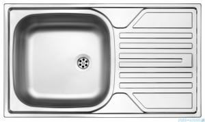 Deante Legato zlewozmywak 1-komorowy z ociekaczem 76x43,5 cm z odpływem 2 cale satyna ZEL 0110