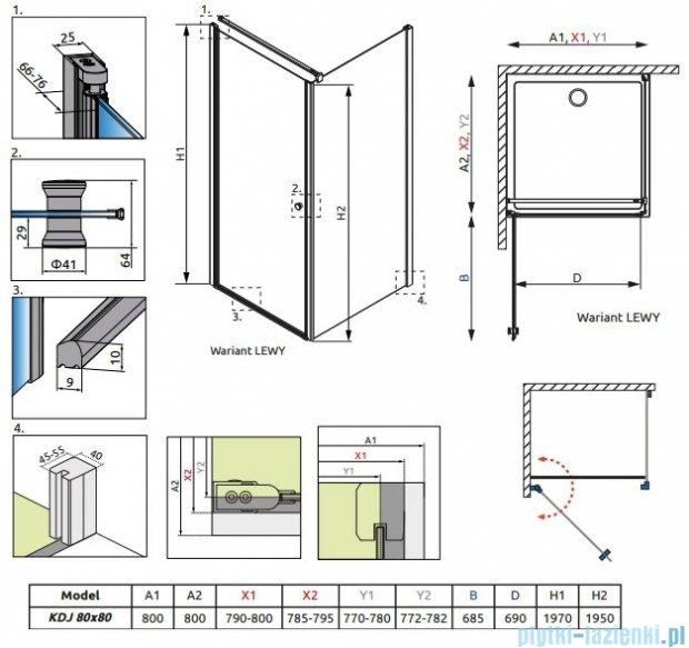 Radaway Eos KDJ kabina prysznicowa 80x80 lewa szkło intimato + brodzik Delos C + syfon 37513-01-12NL