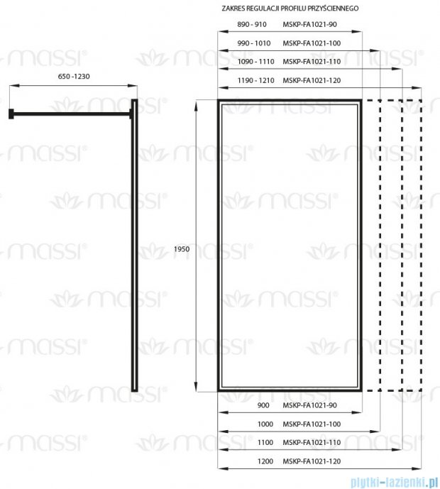 Massi Fix kabina prysznicowa walk In 90x195cm przejrzyste MSKP-FA1021-90