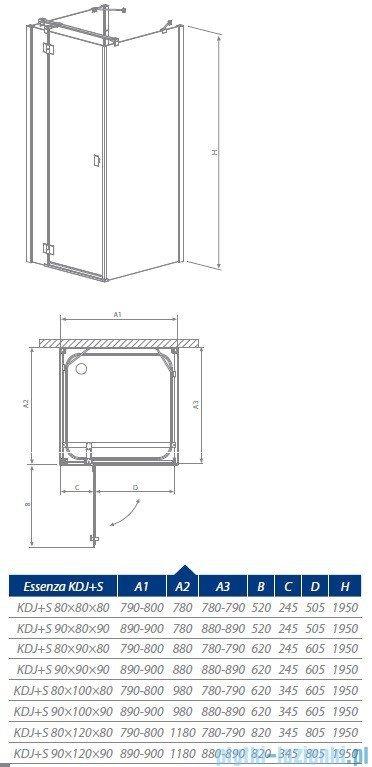 Radaway Essenza KDJ + S kabina 90x90 prawa szkło przejrzyste 32902-01-01R