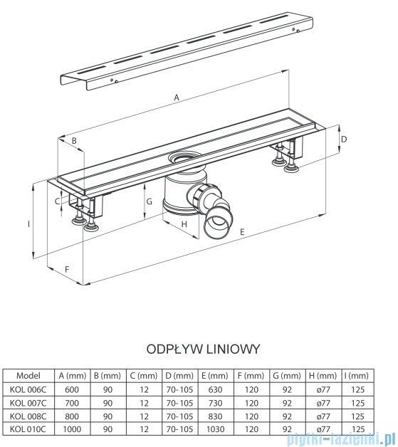 Deante odpływ liniowy z rusztem ze wzorem 80x12x12,5 cm KOL 008C
