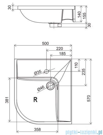 Ravak Umywalka BeHappy 57x50 cm prawa z otworami XJAP1100000