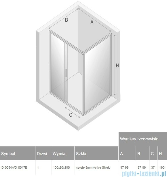 New Trendy Varia kabina prysznicowa 100x90x190cm przejrzyste D-0054A/D-0047B