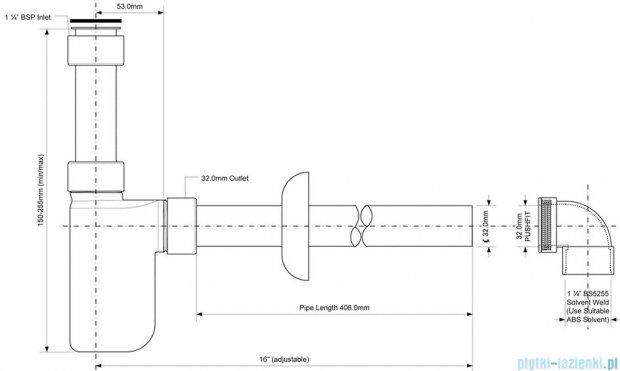 McAlpine Syfon umywalkowy rurowy chrom A32UK-CB