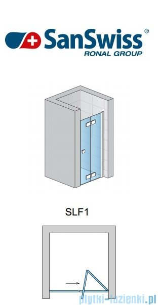 SanSwiss Swing Line F SLF1 Drzwi 2-częściowe 90cm profil srebrny Prawe SLF1D09000107