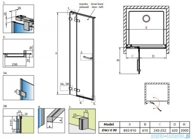 Radaway Arta Dwj II drzwi wnękowe 90cm lewe szkło przejrzyste 386441-03-01L/386011-03-01L