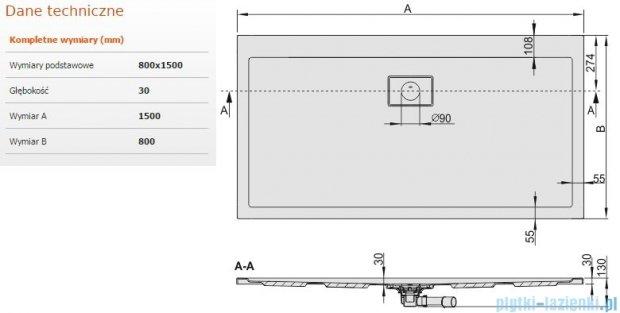 Sanplast Space Line brodzik prostokątny 150x80x3 cm + syfon 615-110-0270-01-000