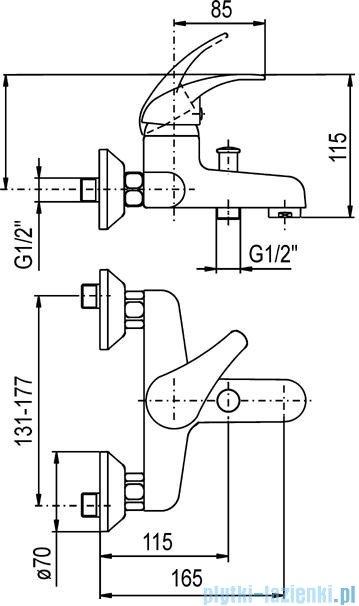 KFA NEFRYT Bateria wannowa ścienna chrom 504-010-00