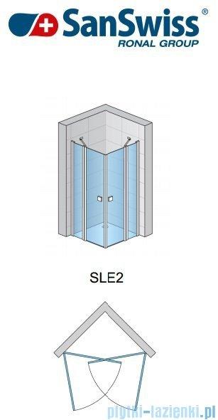 SanSwiss Swing Line SLE2 Wejście narożne 90cm profil biały Prawe SLE2D09000407