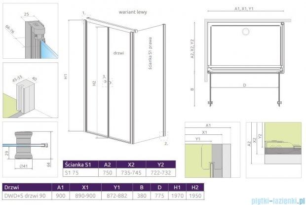 Radaway Eos II DWD+S kabina prysznicowa 90x75cm lewa szkło przejrzyste 3799491-01/3799409-01R