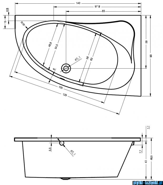 Riho Lyra wanna asymetryczna 140x90cm lewa nóżki+syfon BA66/08/AMC55