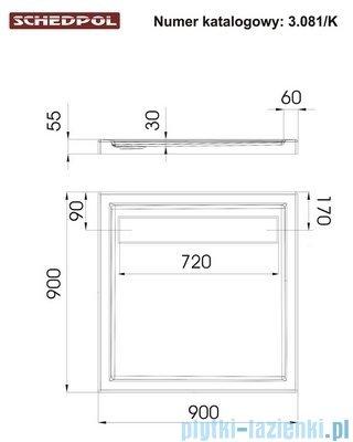 Schedpol Camparo Brodzik kwadratowy z klapką odpływu 90x90x6,5cm 3.081/K