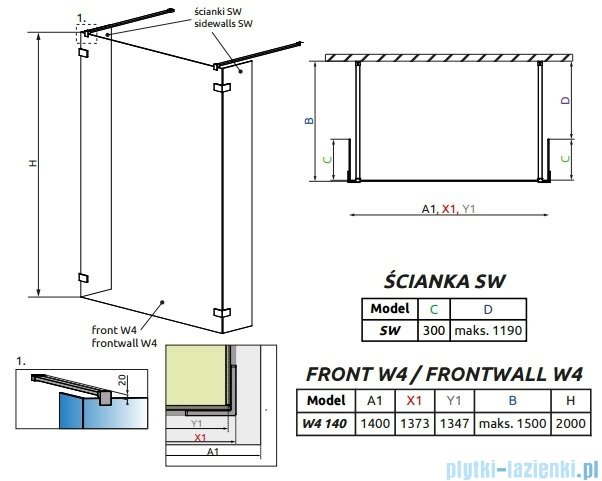 Radaway Euphoria Walk-in I kabina 140cm szkło przejrzyste 383146-01-01/383160-01-01/383160-01-01