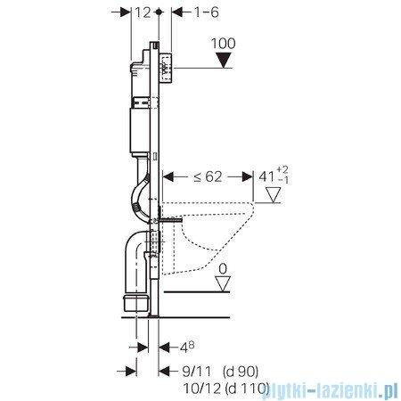 Geberit DuofixBasic stelaż podtynkowy do WC UP100 Delta H112 + wsporniki + przekładka 111.153.00.1/111.813.00.1/X09