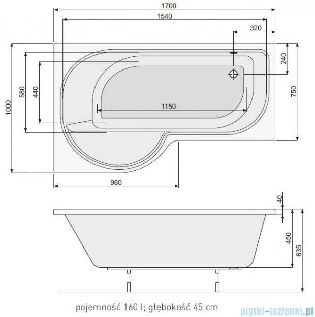 Poolspa Intea wanna asymetryczna 170x100 lewa + hydromasaż system Smart 1 PHAQW10ST1C0000