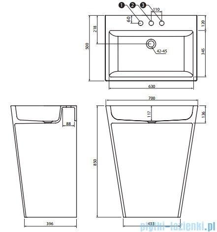 Marmorin Tebe 700 umywalka stojąca biała 70x50 P530070020010