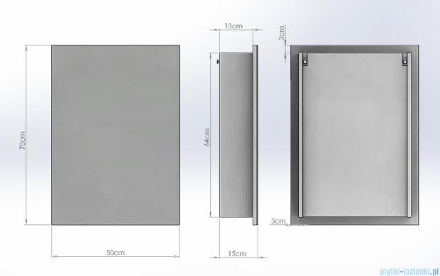 Antado Anta Szafka lustrzana 1-drzwiowa 50x15x70 prawa AN-050R