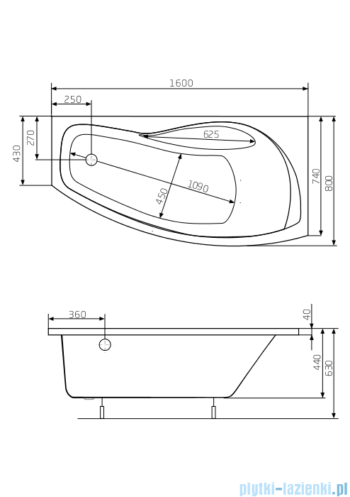 Roca Nicole wanna 160x80cm prawa z hydromasażem Smart WaterAir Plus A24T165000