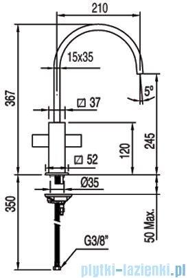 Tres Cuadro-Tres Bateria zlewozmywakowa wylewka 35x15 mm 1.08.498
