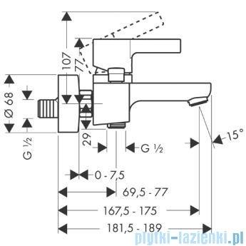 Hansgrohe Metris S Jednouchwytowa bateria wannowa DN15 montaż natynkowy 31460000