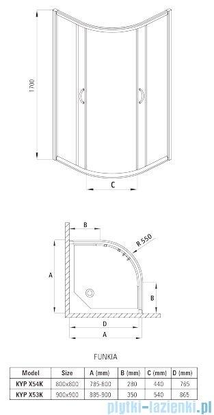 Deante Funkia kabina półokrągła czteroszybowa niska 90x90x170 cm grafit KYP 453K