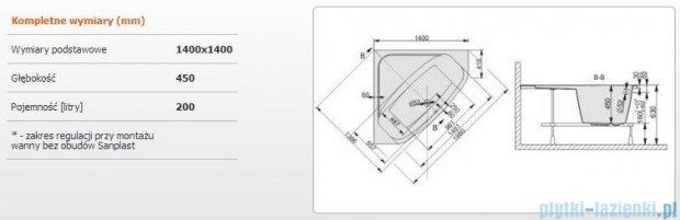 Sanplast Free Line Wanna symetryczna+stelaż WS/FREE 140x140+ST28, 610-040-0330-01-000