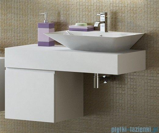 Antado Combi szafka lewa z blatem i umywalką Libra biały/jasne drewno ALT-141/45-L-WS/dn+ALT-B/3C-1000x450x150-WS+UCS-TC-66