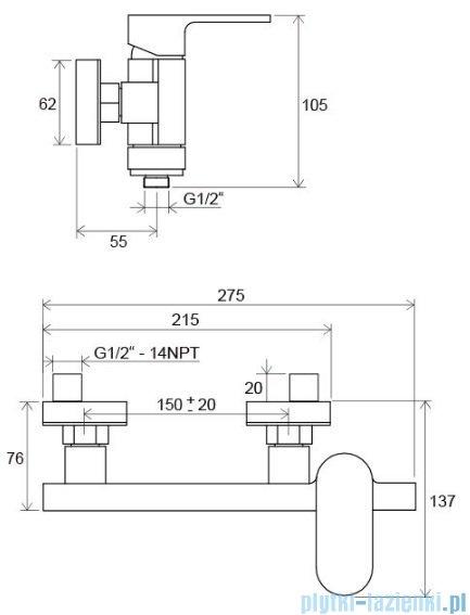 Ravak Bateria prysznicowa Chrome 150 CR 032.00/150mm X070043