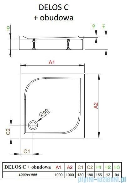 Radaway Brodzik kwadratowy Delos C 100x100x14 z obudową 4C11170-03