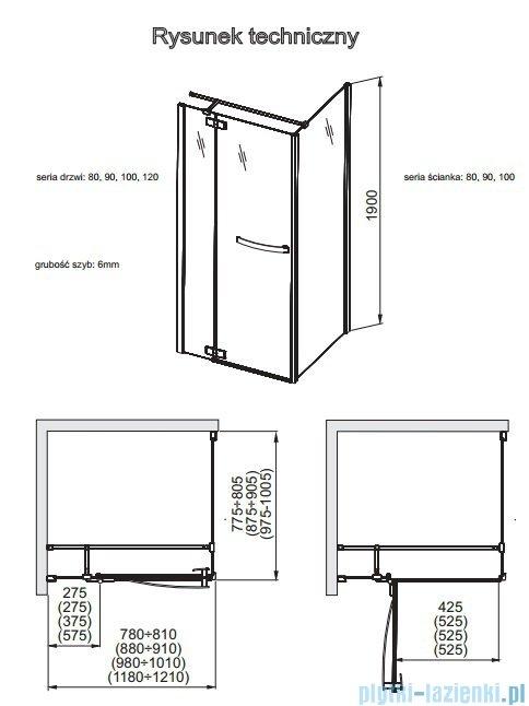 Aquaform HD Collection drzwi uchylne lewe 120cm przejrzyste 103-09392