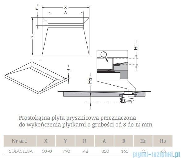 Radaway prostokątny brodzik podpłytkowy z odpływem liniowym Basic na dłuższym boku 109x79cm 5DLA1108A,5R085B,5SL1
