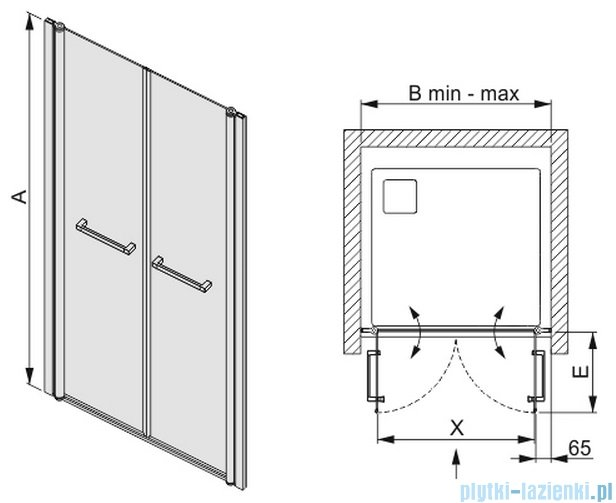 Sanplast drzwi skrzydłowe szkło: przejrzyste  DD/PRIII-110    600-073-0950-01-401