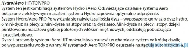 Riho Geta Wanna asymetryczna 170x90cm lewa z hydromasażem PRO Hydro 6+4+2/Aero11 BA89P7