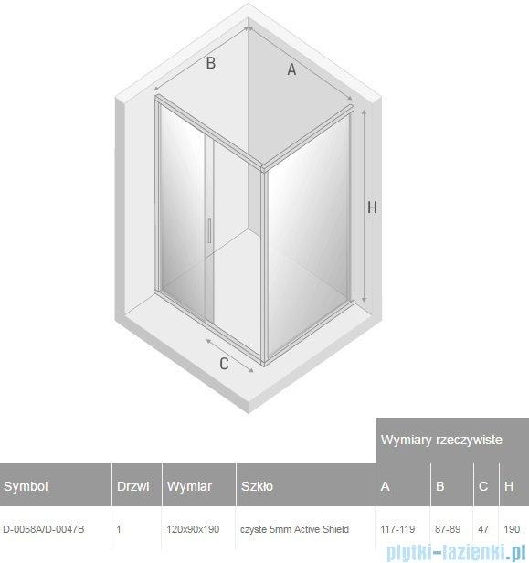 New Trendy Varia kabina prysznicowa 120x90x190cm przejrzyste D-0058A/D-0047B
