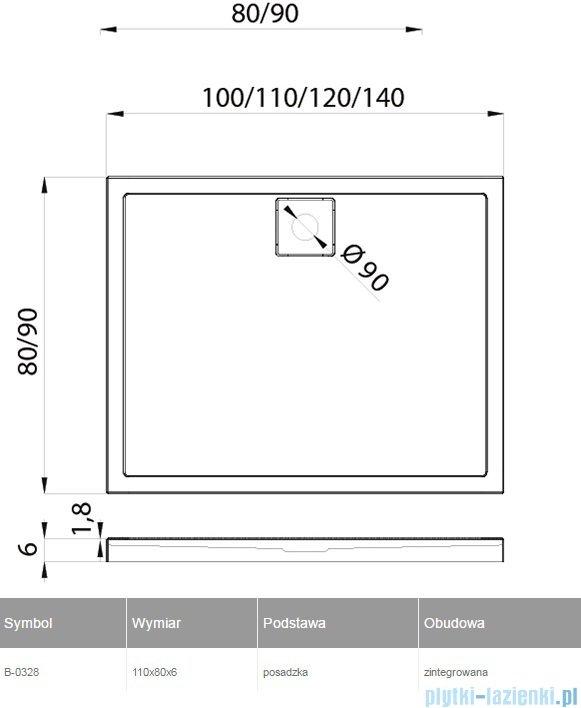 New Trendy Lido Brodzik prostokątny 110x80x6cm B-0328