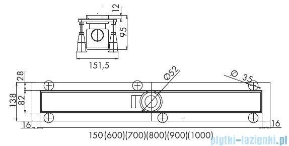 Schedpol odpływ liniowy do zabudowania płytkami 100x8x9,5cm OLP100/ST