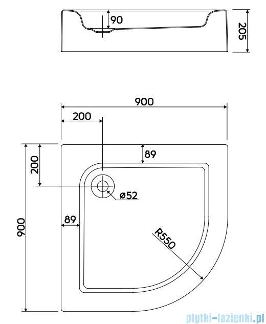 Koło Standard Plus Brodzik 90cm półokrągły ze zintegrowaną obudową XBN1490000