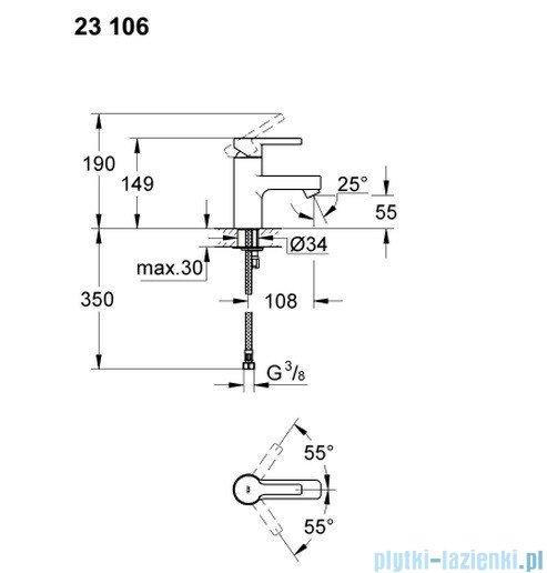 Grohe Lineare bateria umywalkowa DN 15 bez korka 23106000