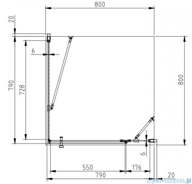 Omnires Manhattan kabina kwadratowa 80x80x185cm szkło przejrzyste ADC80X