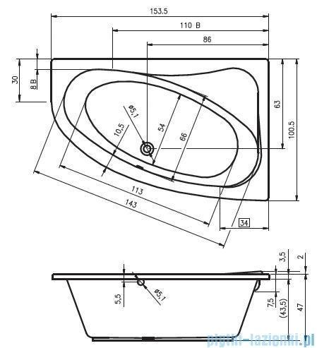 Riho Lyra wanna asymetryczna 153,5x100,5cm lewa nóżki+syfon BA68/08/AMC55