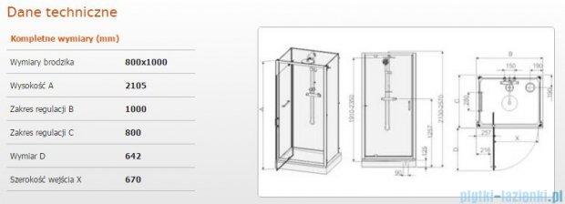 Sanplast kabina czterościenna kompletna do wnęki kpl-KCDJwn/CLII-80X100 80X100X210 CM przejrzysta 602-011-0230-01-4B1