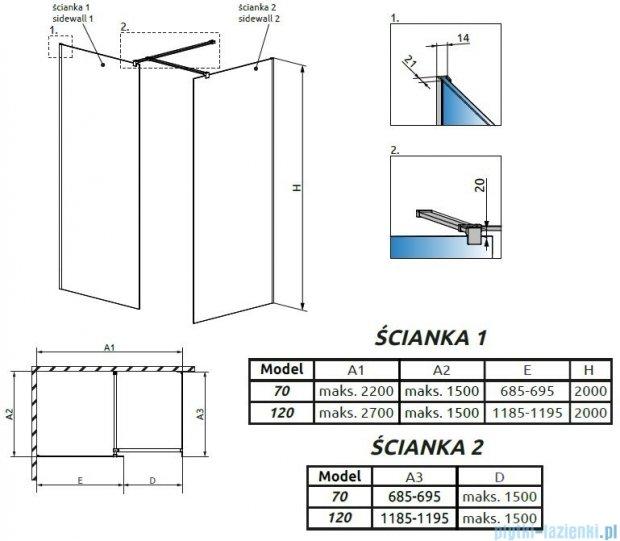 Radaway Modo New III kabina Walk-in 120x70x200 szkło przejrzyste 389124-01-01/389074-01-01/389000-01