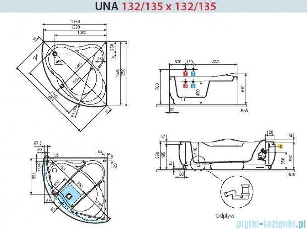 Novellini Wanna UNA HYDRO+DEZYNFEKCJA 135x135 UNA3135135PF-A1K