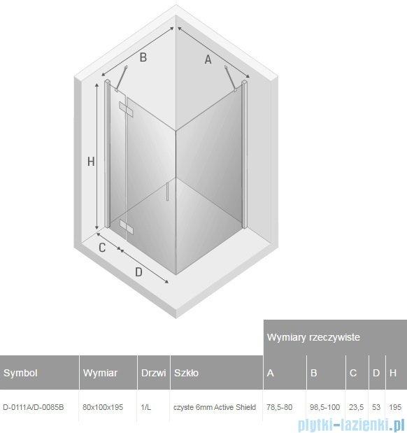 New Trendy New Renoma kabina prostokątna 80x100x195 cm przejrzyste lewa D-0111A/D-0085B