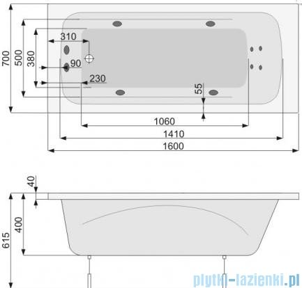 Poolspa Wanna prostokątna KLIO 160x70 + hydromasaż system SD3 PHP6610SD3C0000